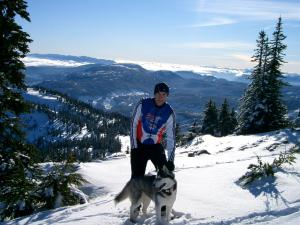 sean and juneau on top of mt. washington